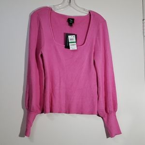 Bar III Square-Neck Pullover Sweater, Pink, SZ L